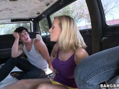 She's back in the BangBus and getting jiggy with a dude and blows him