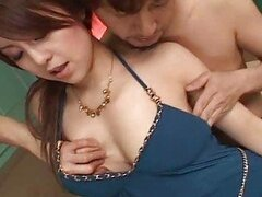 Japanese big tits teen girl in threesome