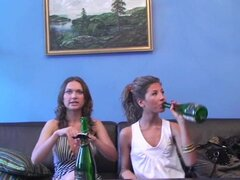 Beautiful College Girls Get Drunk and Ready for a Lesbian Party