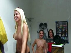 Three hot beautiful dancing naked in the bath