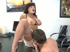 Busty brunette Lisa Ann pokes her boss after work