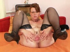 Amateur milf lora with big natural tits playing dildo in hot solo