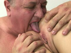 Tight Brunette Bitch is Fucked by Mature Fucker