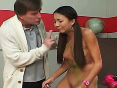 Slim black haired chick Korean slut gets fucked by horny doctor
