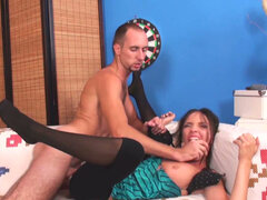 Skinny brunette slut Inez Steffan gives sloppy blowjob and fucks anal.