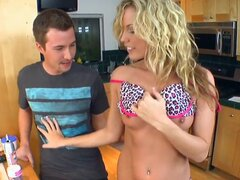 Athletic babe Kiara Diane wants to make friends with her new neighbor! She invited him to cook a dinner! Her pussy becomes wet during the cooking and she can not think of anything except fucking.