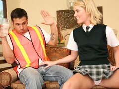 Riley the randy teen has her dad's worker over to fill her front bum with his weapon