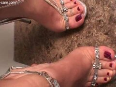 High heeled footjob