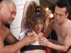 Roped asian pregnant slut eating shaft...