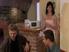 Hot brunette wife cuckolds old husband