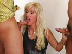 Mom fucked by two cable guys