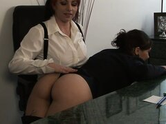 Her lesbian boss gives her a spanking for being a bad secretary