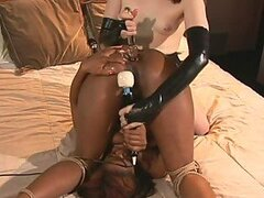Sexy Redhead and Ebony Lesbian Action With Hogtying