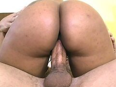 Dude with a hard cock fucks an ebony babe hard and deep
