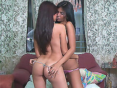 Foxy Brunette Teen Lesbians Kissing in Tiny Thongs