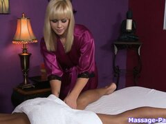 Sensual massages is this hot blonde's specialty with a bonus boner rub thrown in for free
