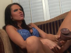 Brunette Jennifer Dark bangs in anal with two black snakes