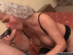 Grey haired granny in sexy lingerie getting pumped