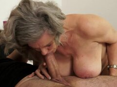 Busty granny Aliz gets her pussy licked and fucked every which way