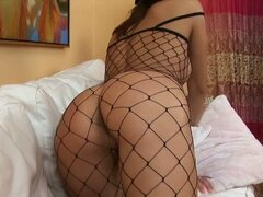 Babe in fishnet bodystocking plays with her poon