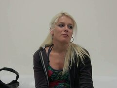 Horny blonde czech hottie sandra in one sizzling casting blowjob