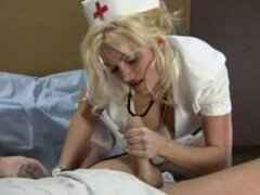 Hot nurse looking after her patient