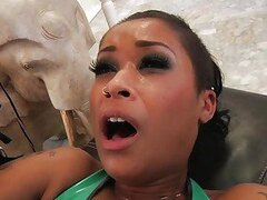 Sizzling Skin Diamond gets dicked up her shit spitter