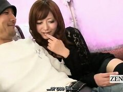 Subtitled busty Japanese AV star gives blowjob on bus
