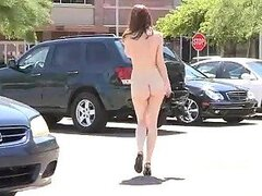 Redhead Babe Walking Naked on the Street after Masturbating Outdoors