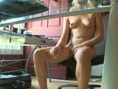 Horny blonde masturbates after watching some porn online