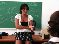 Busty school teacher Lezley Zen gives her student a lesson in cock sucking