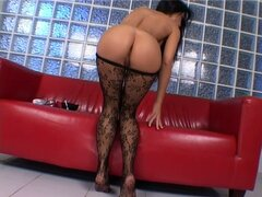 Charming brunette woman Mya Diamond exposes her delicious feet