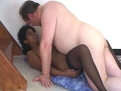 Interracial Video With Ebony & Fat Old Dude.