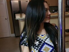 Sexy brunette wearing a fishnet pantyhose performs fellatio