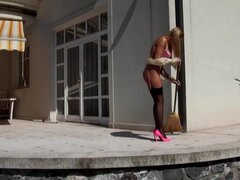 Slutty maid Amy seduces the next door neighbour
