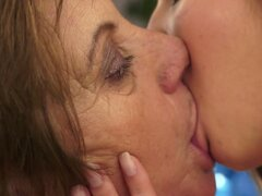 Old Lady Getting Pleasure from a Stunning Lesbian Teen