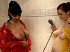 Two curvaceous babes with big titties share a shower together