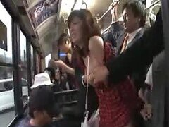 Yuma Asami Gets Her Natural Tits Played With IN A Public Transportation