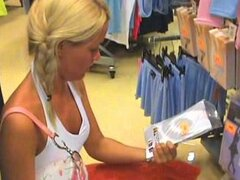 Horny Sophie Moone changes her clothes in a shop