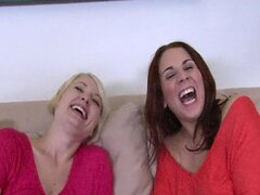 MILFs finger and fuck on the sofa