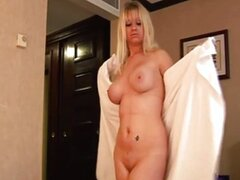 Blonde sexy babe slaps and whips cock for guy