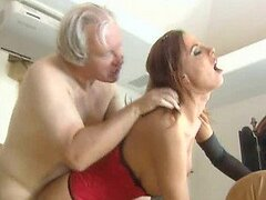 Hot Babe In Lingerie and High Heels Fucking a Foot Fetish Old Man