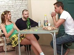 Play this video to see two big russian fellas fucking one brunette babe