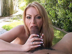 Horny milf Aline gobbles down juucy black pork sword