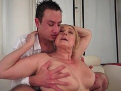 Big saggy mature tits fondled and sucked on