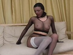 fully pantyhosed girl teases and masturbates