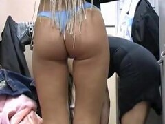 Sexy blonde girl in dressing room showed nude and panty view