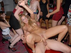A ridiculously raunchy college party with horny hussies getting busy with randy dudes