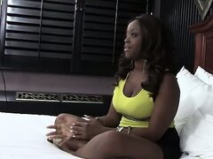 Busty black teen sucks on cock