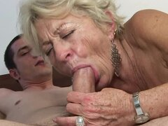 Lewd granny Malya gives a blowjob and gets fucked in cowgirl position